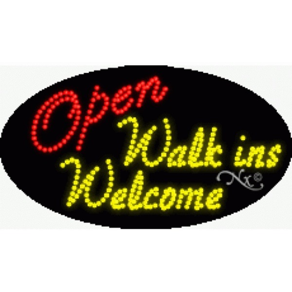 "LED Sign - Open Walk Ins Welcome 15""H x 27""W x 1""D (24397)"