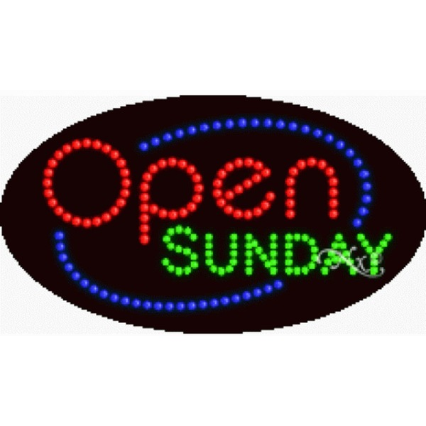"LED Sign - Open Sunday 15""H x 27""W x 1""D (24465)"