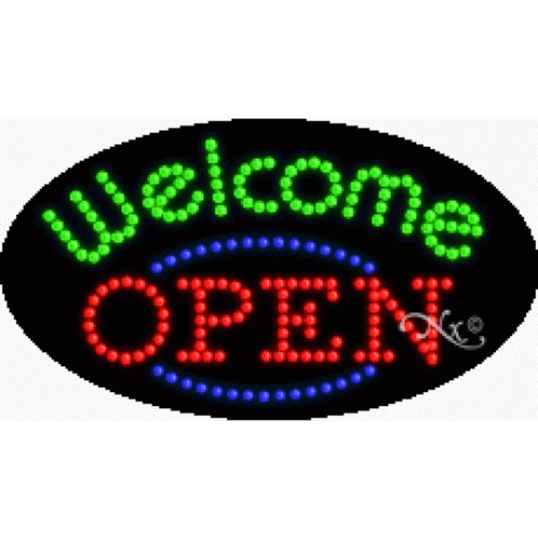 "LED Sign - Welcome Open 15""H x 27""W x 1""D (24466)"