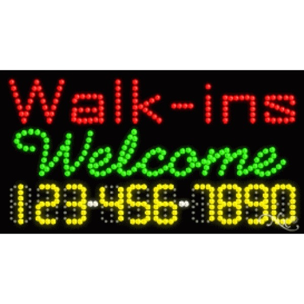 "LED Sign - Walk Ins Welcome 17""H x 32""W x 1""D (25016)"