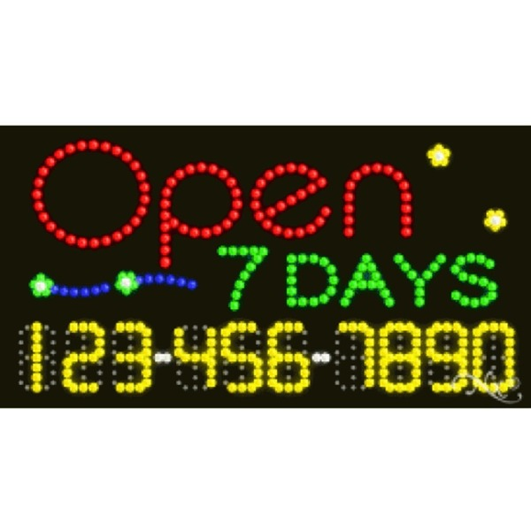 "LED Sign - Open 7 Days 17""H x 32""W x 1""D (25029)"