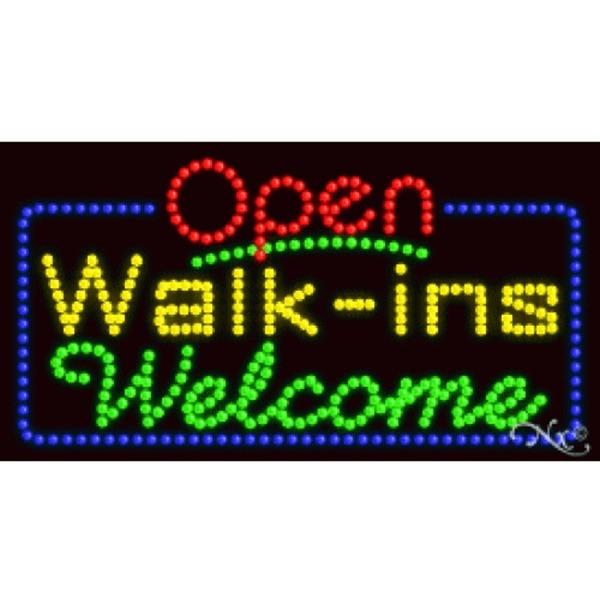 "LED Sign - Walk ins Welcome Open 17""H x 32""W x 1""D (25415)"