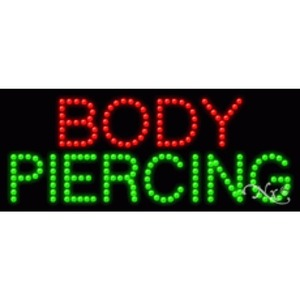 "LED Sign - Body Piercing 11""H x 27""W x 1""D (20163)"