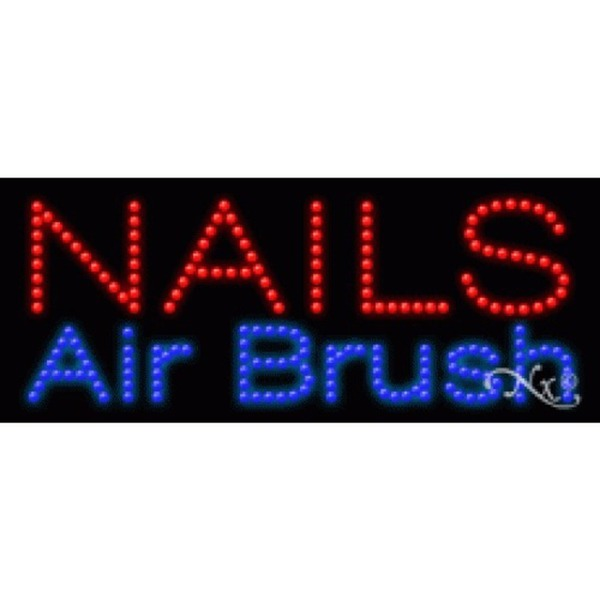 "LED Sign - Nails Airbrush 11""H x 27""W x 1""D (20169)"