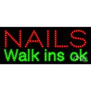 "LED Sign - Nails Walk Ins Ok 11""H x 27""W x 1""D (20170)"