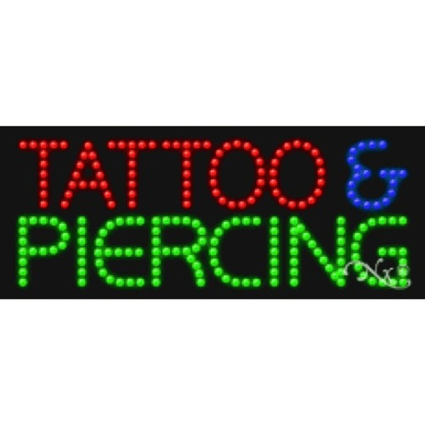 "LED Sign - Tattoo & Piercing 11""H x 27""W x 1""D (20298)"