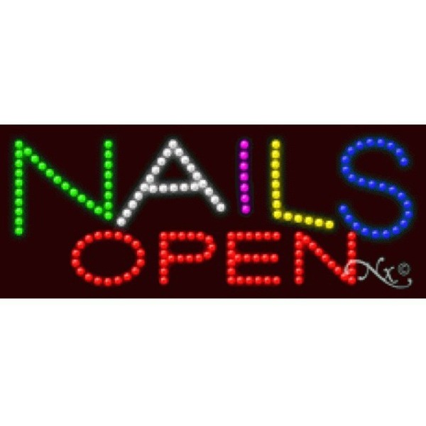 "LED Sign - Nails Open 11""H x 27""W x 1""D (20348)"