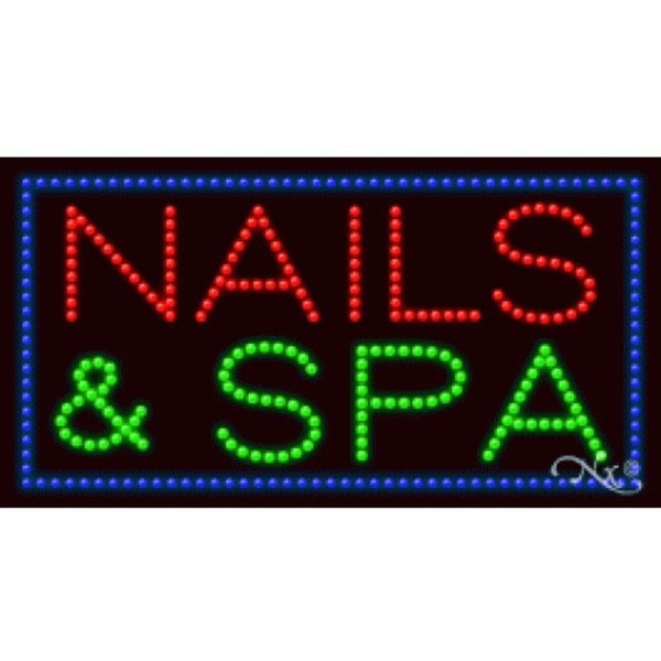"LED Sign - Nails & Spa 17""H x 32""W x 1""D (20369)"