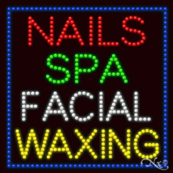 "LED Sign - Nails Spa Facial Waxing 27""H x 27""W x 1""D (20502)"