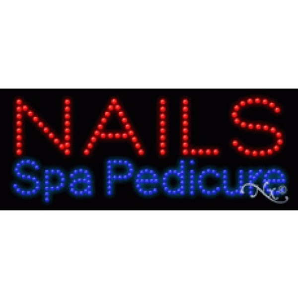 "LED Sign - Nails Spa Pedicure 11""H x 27""W x 1""D (20586)"