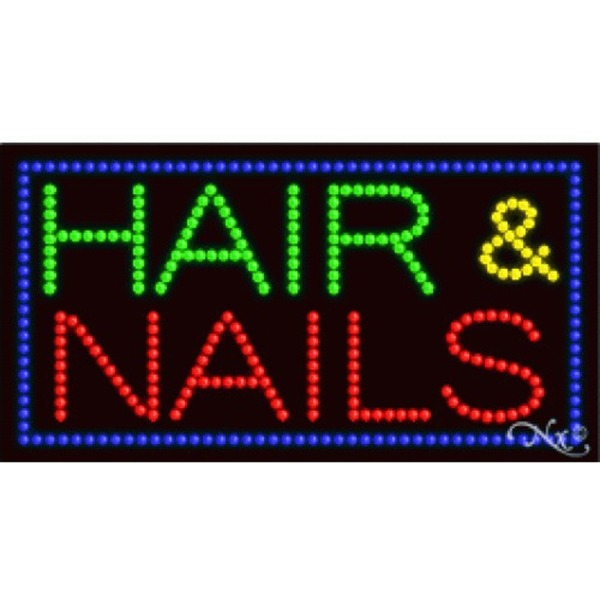 "LED Sign - Hair & Nails 17""H x 32""W x 1""D (21083)"