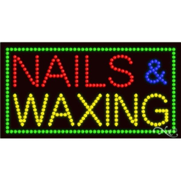 "LED Sign - Nails & Waxing 17""H x 32""W x 1""D (21098)"