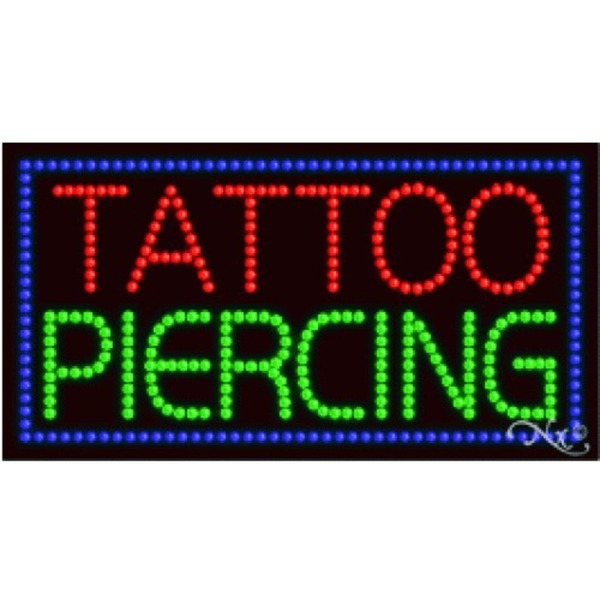 "LED Sign - Tattoo Piercing 17""H x 32""W x 1""D (21119)"