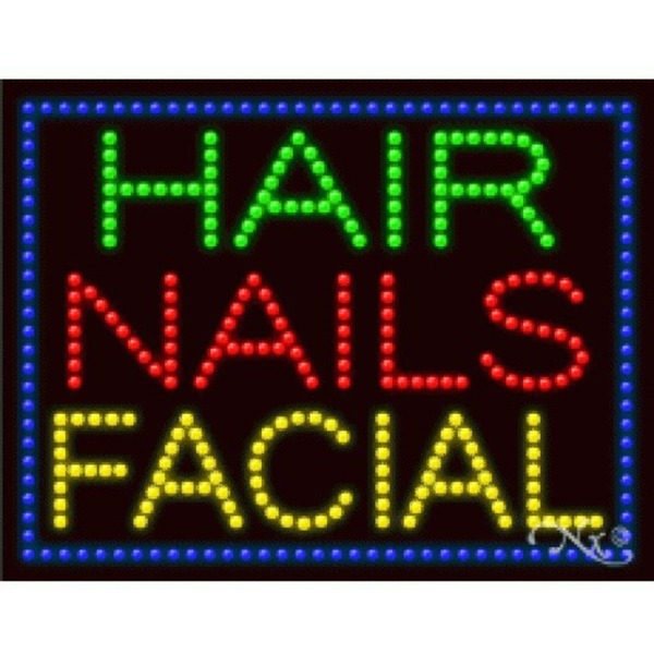 "LED Sign - Hair Nails Facial 20""H x 26""W x 1""D (21249)"