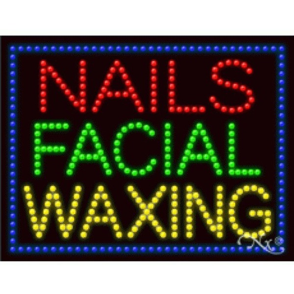 "LED Sign - Nails Facial Waxing 20""H x 26""W x 1""D (21255)"