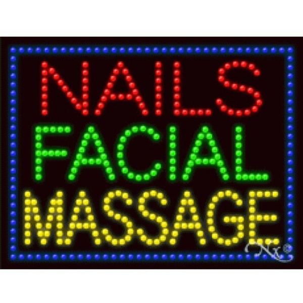 "LED Sign - Nails Facial Massage 20""H x 26""W x 1""D (21256)"