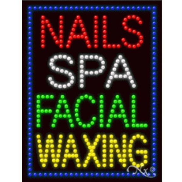 "LED Sign - Nails Spa Facial Waxing 26""H x 20""W x 1""D (21258)"
