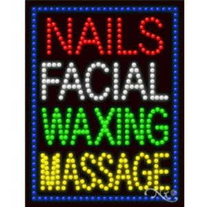 "LED Sign - Nails Facial Waxing Massage 26""H x 20""W x 1""D (21259)"