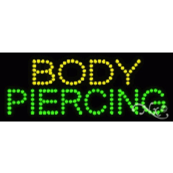 "LED Sign - Body Piercing 8""H x 20""W x 1""D (22019)"