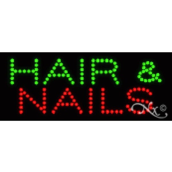 "LED Sign - Hair & Nails 8""H x 20""W x 1""D (22077)"