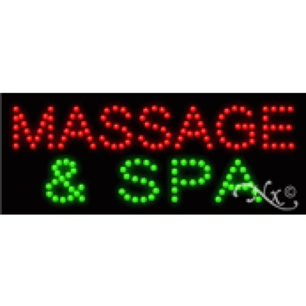 "LED Sign - Massage & Spa 8""H x 20""W x 1""D (22340)"