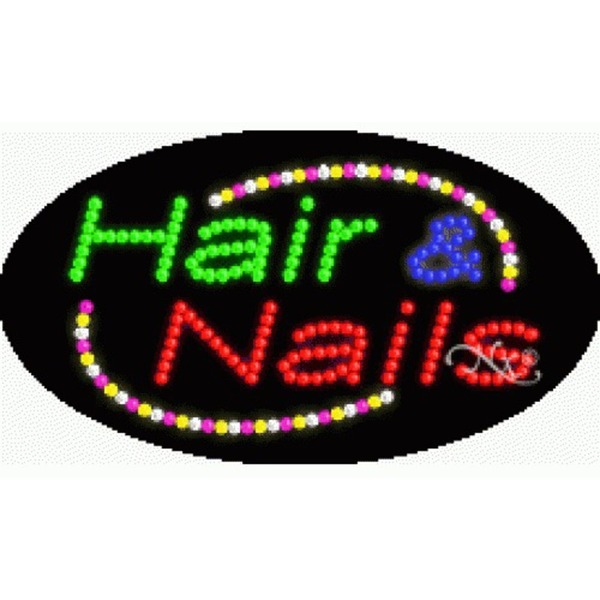 "LED Sign - Hair & Nails 15""H x 27""W x 1""D (24005)"
