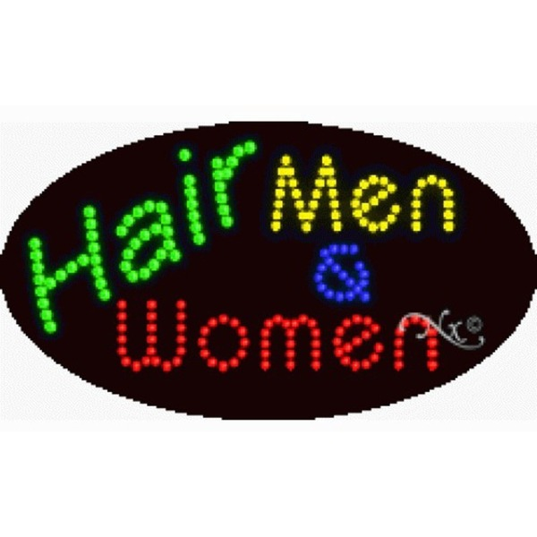 "LED Sign - Hair Men & Women 15""H x 27""W x 1""D (24527)"