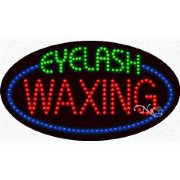 "LED Sign - Eyelash Waxing 15""H x 27""W x 1""D (24586)"