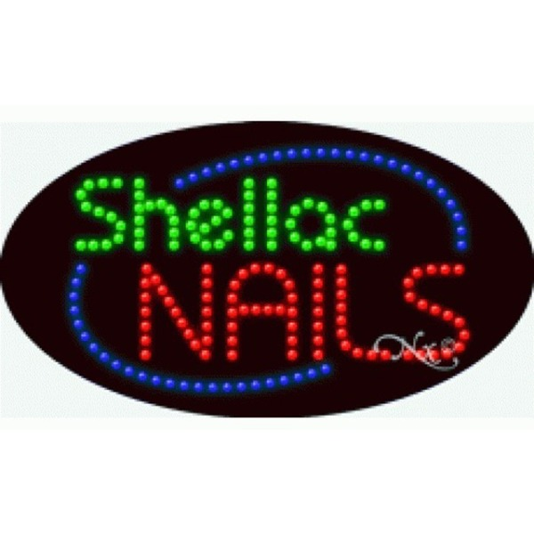 "LED Sign - Shellac Nails 15""H x 27""W x 1""D (24643)"