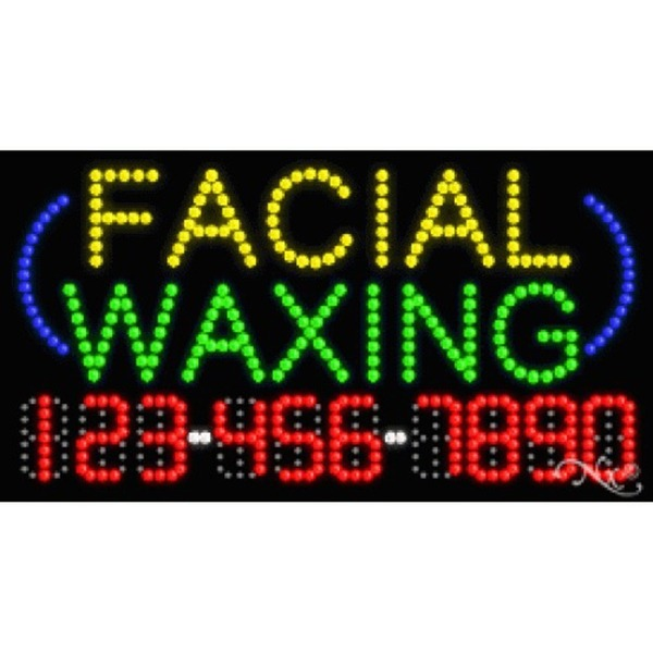 "LED Sign - Facial Waxing 17""H x 32""W x 1""D (25003)"