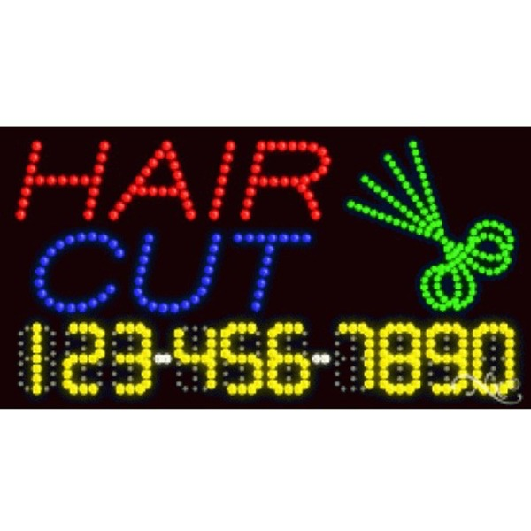 "LED Sign - Hair Cut 17""H x 32""W x 1""D (25005)"