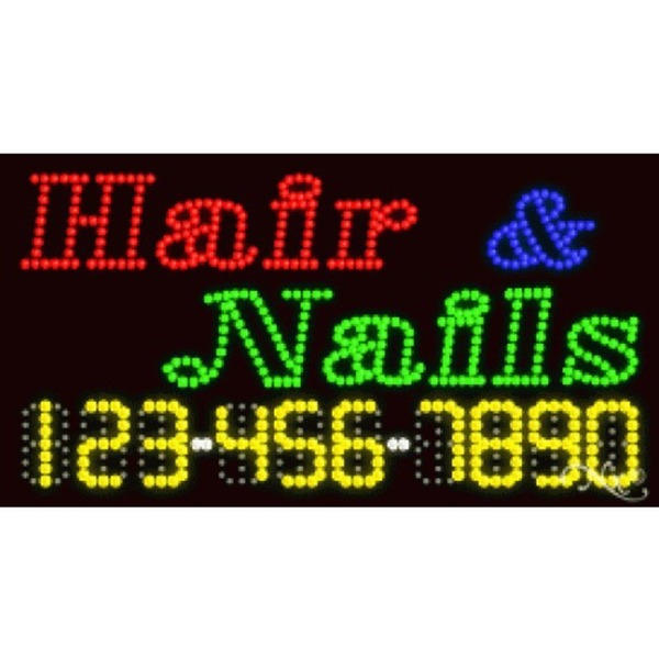 "LED Sign - Hair & Nails 17""H x 32""W x 1""D (25006)"