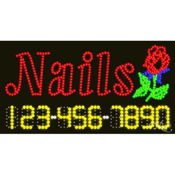 "LED Sign - Nails 17""H x 32""W x 1""D (25008)"