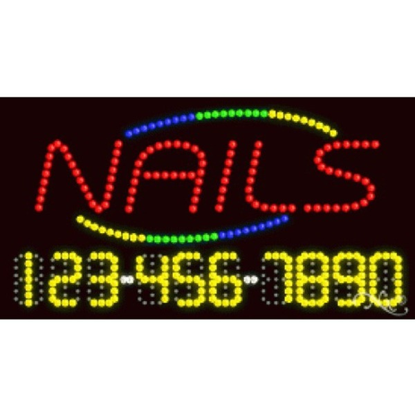 "LED Sign - Nails 17""H x 32""W x 1""D (25009)"