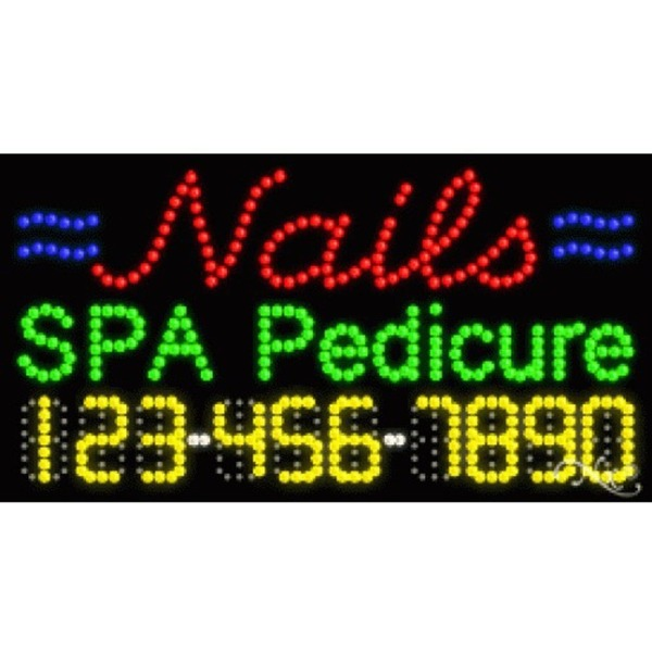 "LED Sign - Nails Spa Pedicure 17""H x 32""W x 1""D (25011)"