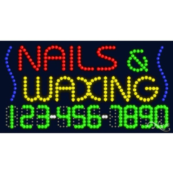 "LED Sign - Nails & Waxing 17""H x 32""W x 1""D (25012)"