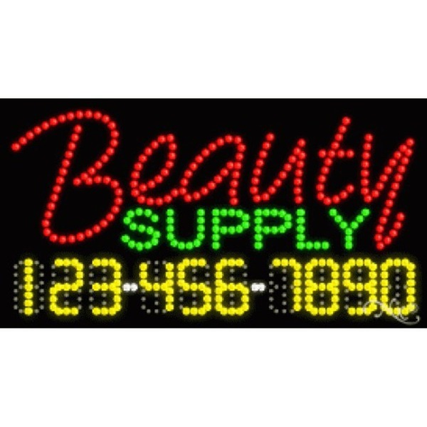 "LED Sign - Beauty Supply 17""H x 32""W x 1""D (25048)"