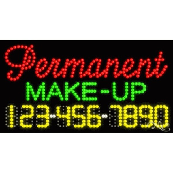 "LED Sign - Permanent Make Up 17""H x 32""W x 1""D (25094)"