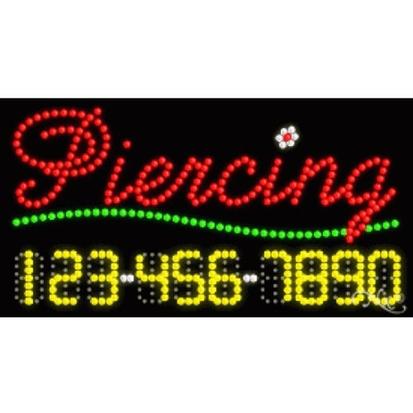 "LED Sign - Piercing 17""H x 32""W x 1""D (25096)"