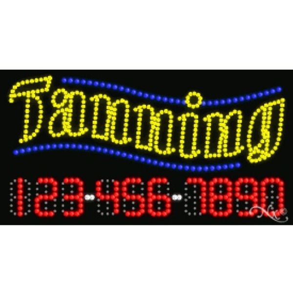 "LED Sign - Tanning 17""H x 32""W x 1""D (25106)"