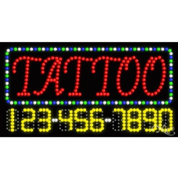 "LED Sign - Tattoo 17""H x 32""W x 1""D (25107)"