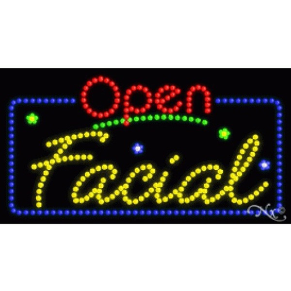 "LED Sign - Facial Open 17""H x 32""W x 1""D (25402)"