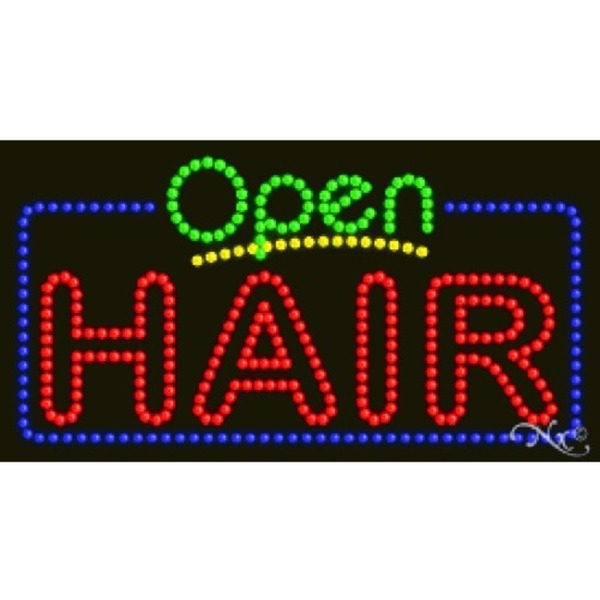"LED Sign - Hair Open 17""H x 32""W x 1""D (25404)"