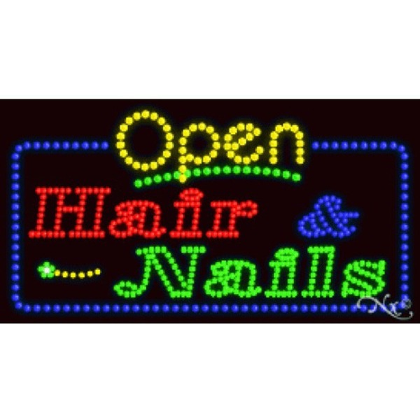 "LED Sign - Hair & Nails Open 17""H x 32""W x 1""D (25406)"