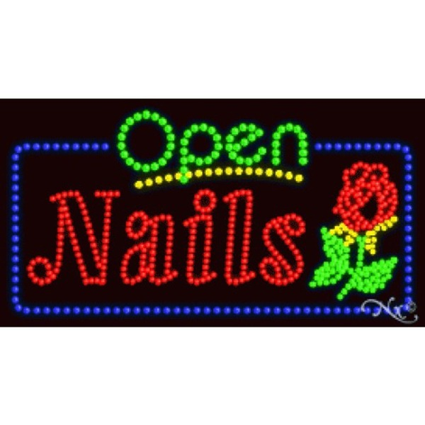 "LED Sign - Nails Open 17""H x 32""W x 1""D (25408)"