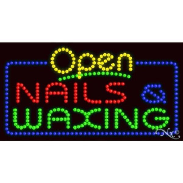 "LED Sign - Nails & Waxing Open 17""H x 32""W x 1""D (25412)"