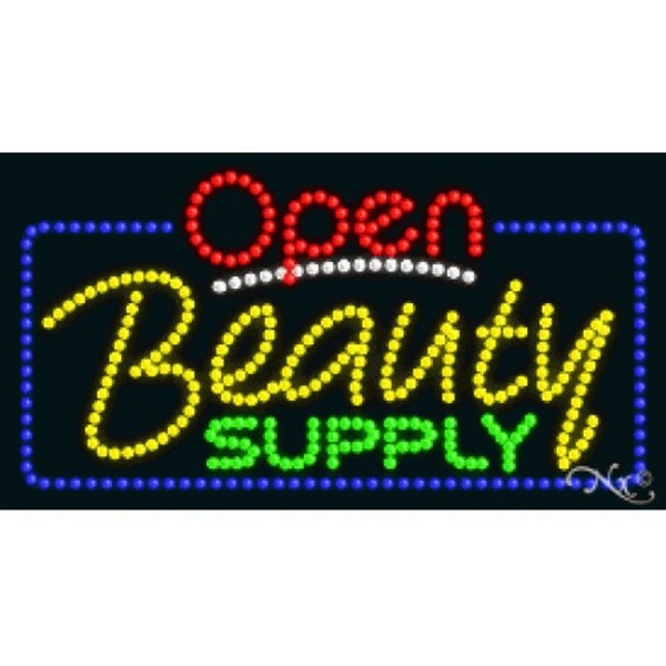 "LED Sign - Beauty Supply Open 17""H x 32""W x 1""D (25462)"