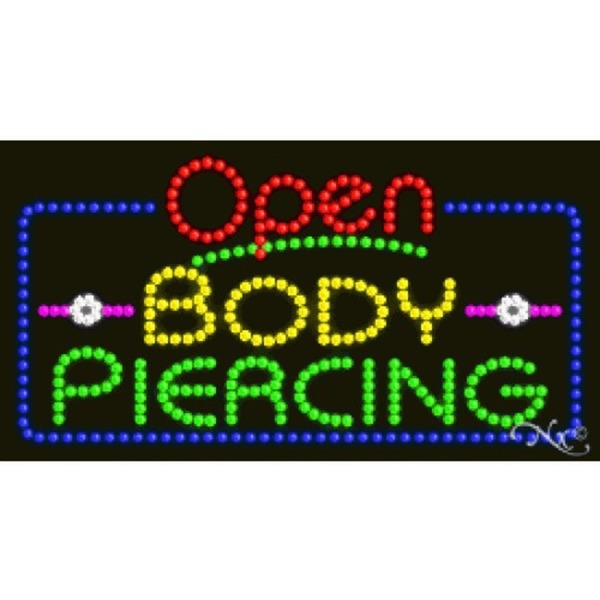 "LED Sign - Body Piercing Open 17""H x 32""W x 1""D (25558)"