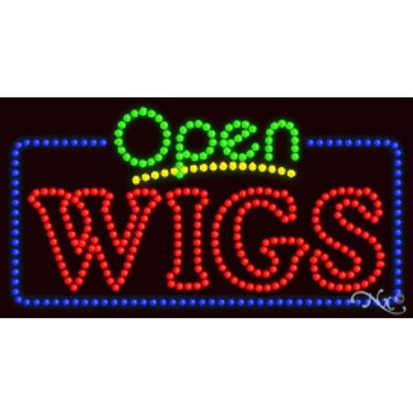 "LED Sign - Wigs Open 17""H x 32""W x 1""D (25594)"