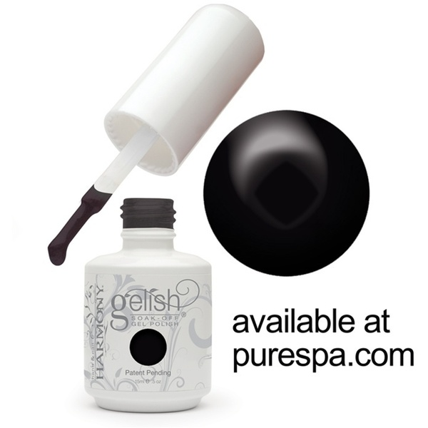 Gelish Color Coat: Black Shadow 0.5oz. - 15mL. - Gelish Soak Off Gel Nail Polish (01348)